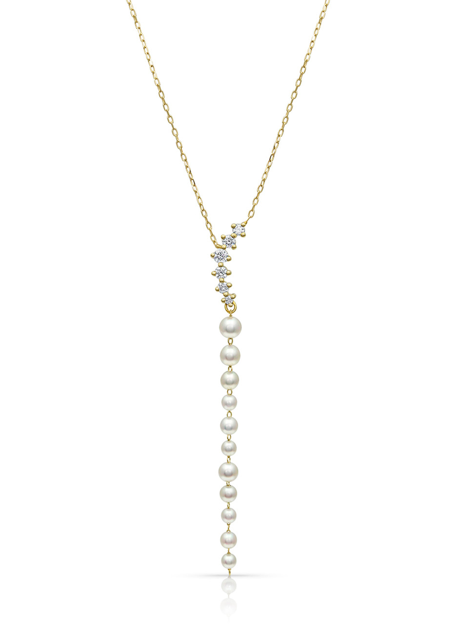 14KYG Akoya Pearl Pigtail Chain Dangle Necklace