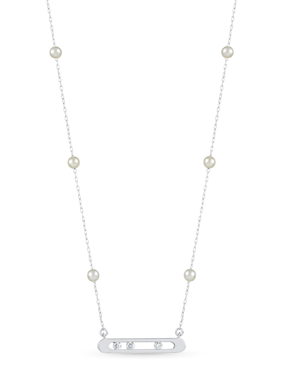 14KWG Akoya Pearl Diamond Channel Chain Necklace