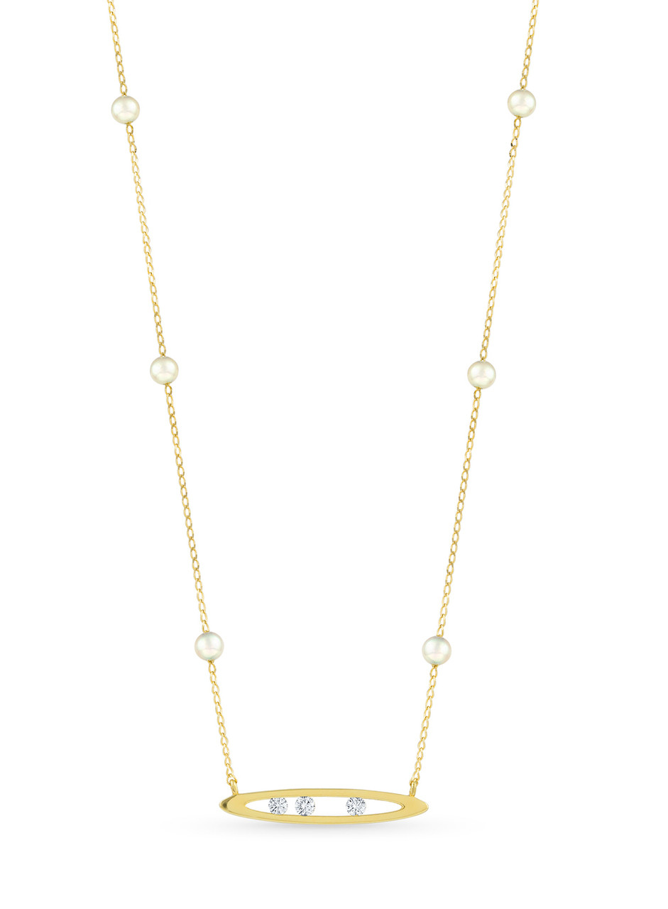 14KYG Akoya Pearl Diamond Marquise Channel Chain Necklace