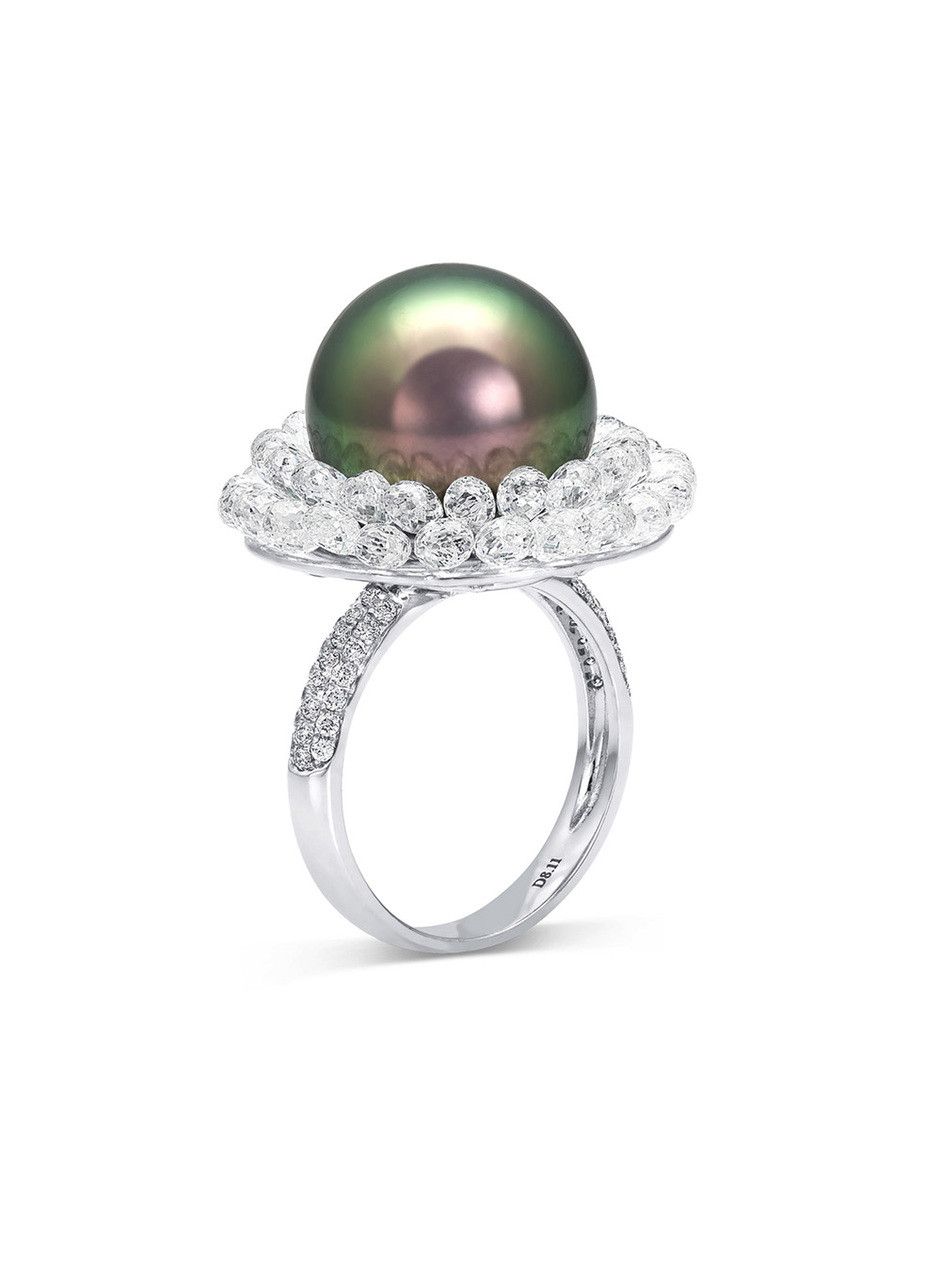 18K Flower Ring With Tahitian South Sea Cultured Pearls And Briolette Diamonds