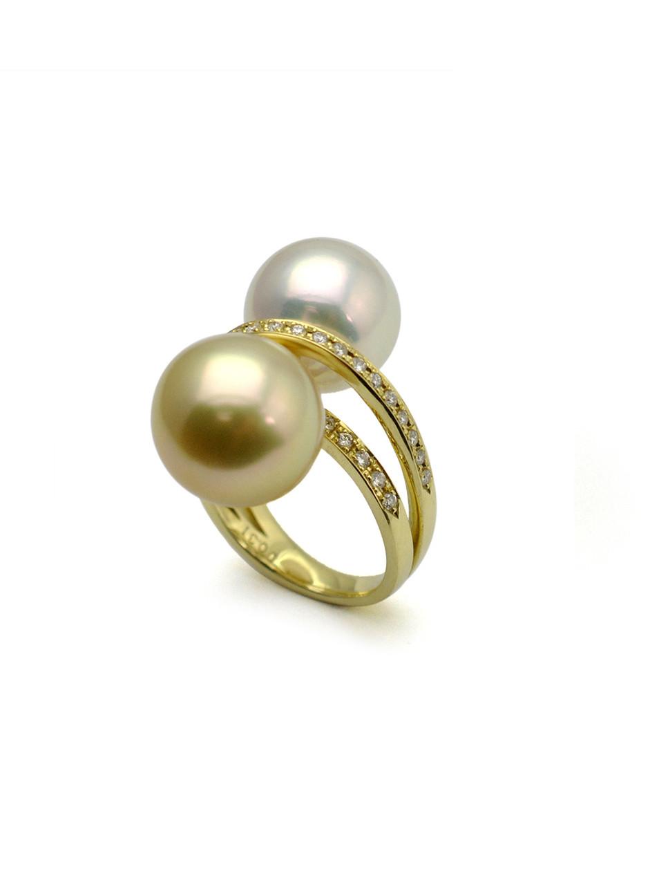 18k White & Golden South Sea Culture Pearl Diamond Ring