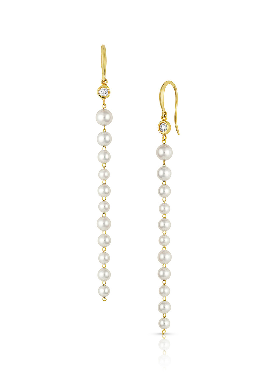 14KYG Baby Akoya Pearl Diamond Long Earrings
