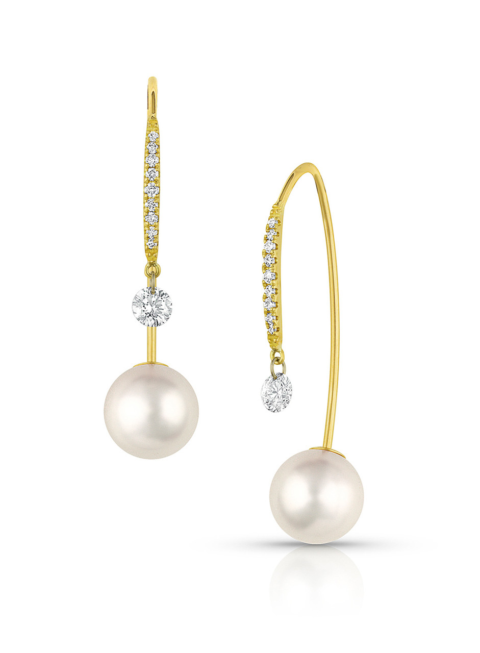 18KYG Akoya Cultured Pearl And Round Diamond Front To Back Earrings