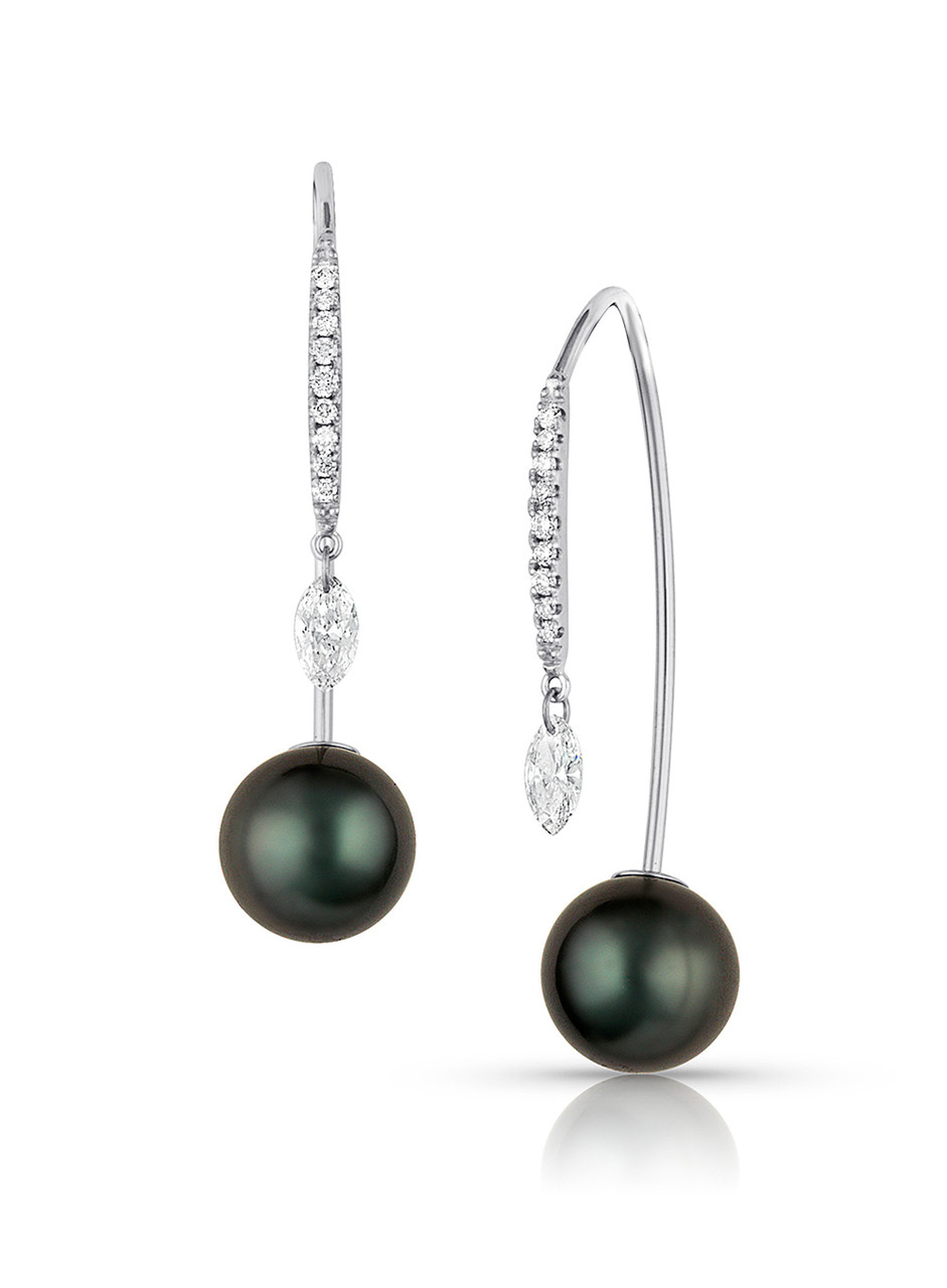 18KWG Tahitian Cultured Pearl And Marquise Diamond Front To Back Earrings
