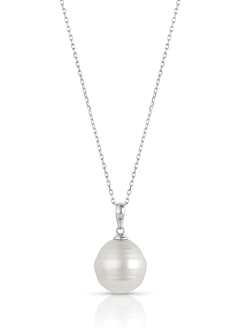 14KWG White South Sea Cultured Pearl Single Diamond Pendant