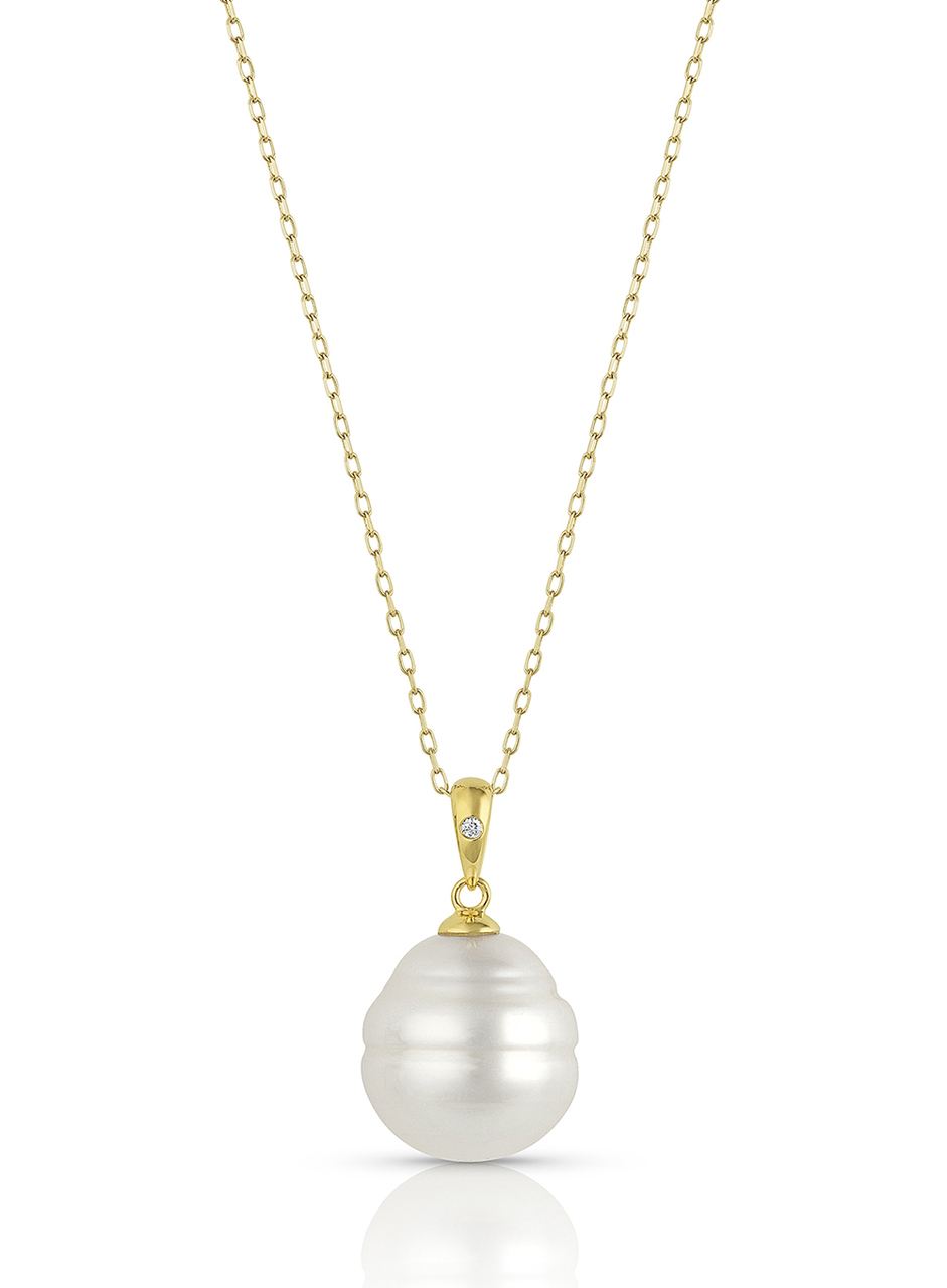 14KYG White South Sea Cultured Pearl Single Diamond Pendant