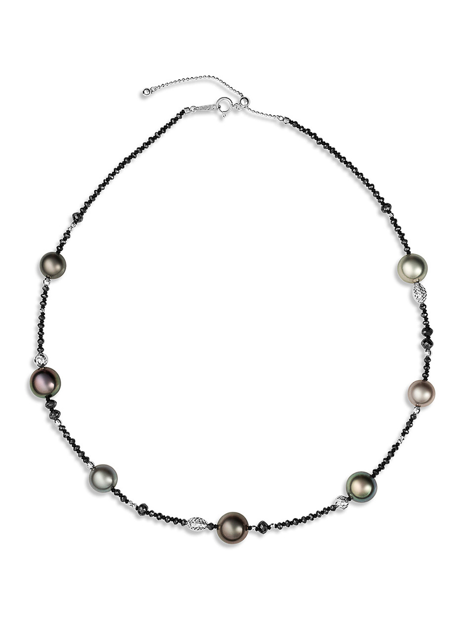 """18K Tahitian Cultured Pearl And Black Diamond 18"""" Necklace"""