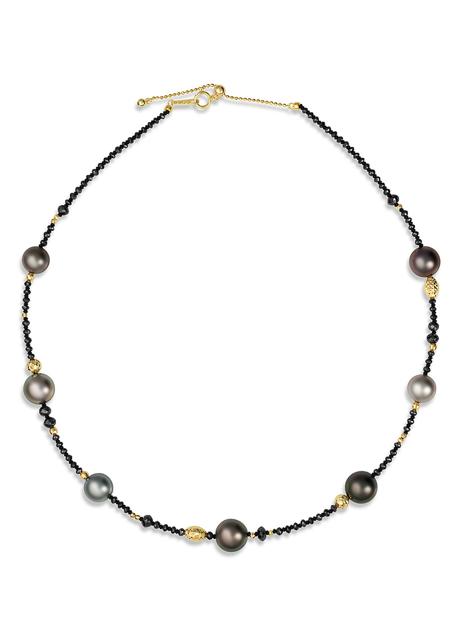 """18KYG Tahitian Cultured Pearl And Black Diamond 18"""" Necklace"""
