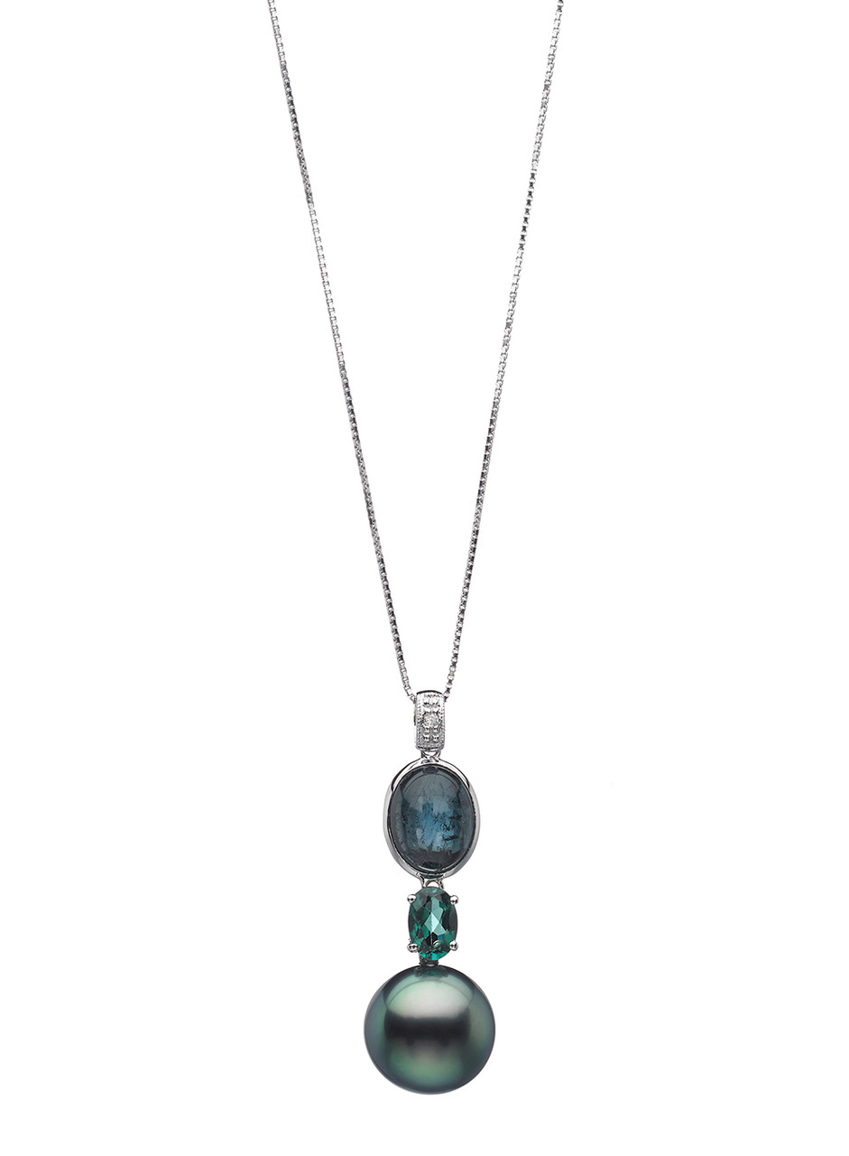 14K Tahitian Cultured Pearl Pendant With Tourmaline And Diamond Accents