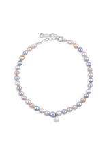 14KWG Multicolor Akoya Cultured Pearl Diamond Bracelet