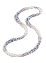 Color Graduated Round Silver Blue Akoya Necklace