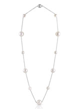 14K Round White South Sea Cultured Pearl Chain Necklace