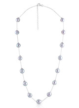 Silver Gray Akoya Cultured Pearl On Sterling Silver Chain Necklace