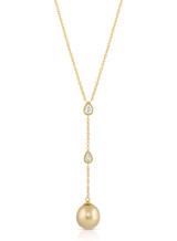 14K Pear Shaped Diamonds Golden South Sea Pearl Pendant Necklace