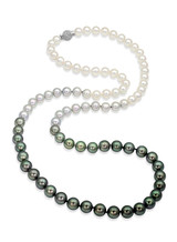 """Tahitian and Akoya Pearls Color Graduation 32"""" Necklace"""