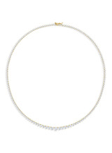 Yellow Gold 3 Prongs Tennis Diamond Necklace