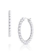 14KWG Baby Akoya Pearl Large Hoop Earrings