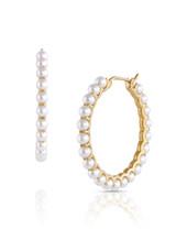 14KYG Baby Akoya Pearl Large Hoop Earrings