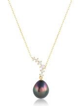 14KYG Tahitian Cultured Pearl Curved Line Diamond Pendant