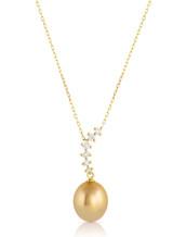 14KYG Golden South Sea Cultured Pearl Curved Line Diamond Pendant