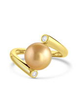 14K Golden South Sea Cultured Pearl And Diamond Bypass Ring