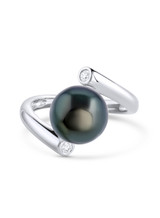 14K Tahititan Cultured Pearl And Diamond Bypass Ring