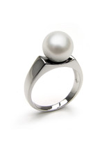 Contemporary 14k Akoya Cultured Pearl Ring