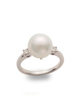Traditional 14K Cultured Pearl And Diamond Ring