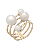14KYG Cultured Pearl Multi-Row Ring
