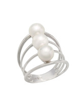 14K Cultured Pearl Triple Row Ring