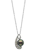 Platinum Cultured Pearl And Diamond Pendant