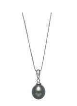 Basic 14KWG Drop Tahitian Cultured Pearl And Diamond Pendant