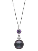 14K Tahitian Cultured Pearl Pendant With Purple Sapphire And Diamond Accents