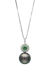 14K Tahitian Cultured Pearl Halo Pendant With Diamond And Tsavorite