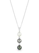 14K Cultured Pearl And Diamond Drop Pendant
