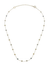 14KYG Multicolor Akoya Cultured Pearl And Chain Necklace
