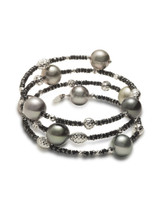 18K Tahitian South Sea Cultured Pearl And Black Diamond Bracelet