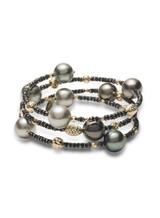 18KYG Tahitian South Sea Cultured Pearl And Black Diamond Bracelet