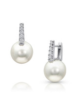 18K South Sea Cultured Pearl And Diamond Huggies