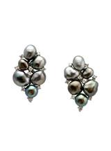 18K Tahitian Keshi Cultured Pearl And Diamond Cluster Earrings