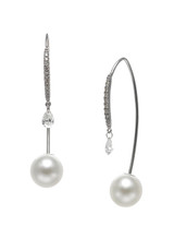18K 7.5-8mm Akoya Cultured Pearl And Diamond Front To Back Earrings