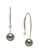 18K Tahitian Cultured Pearl And Diamond Front To Back Earrings