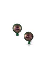 14K 9-10mm Tahitian Cultured Pearl And Emerald Stud Earrings