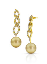 Intricate 18KYG Golden South Sea Cultured Pearl And Diamond Drop Earrings