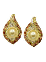 18KYG Golden South Sea Cultured Pearl With Diamond And Sapphire Earrings