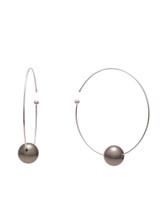 18K Tahitian Cultured Pearls Flexible Wire Hoop Earrings
