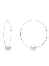 18K Akoya Cultured Pearl Flexible Wire Hoop Earrings