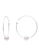 18K Pink Freshwater Cultured Pearl Flexible Wire Hoop Earrings