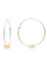 18KYG Golden Akoya Cultured Pearl Flexible Wire Hoop Earrings