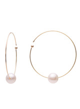 18KYG Akoya Cultured Pearl Flexible Wire Hoop Earrings